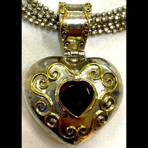 VALENTINE'S Day -gold & sterling  Heart Pendant